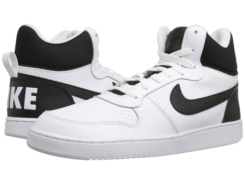 Nike - Court Borough Mid (White/Black) Men's Basketball Shoes