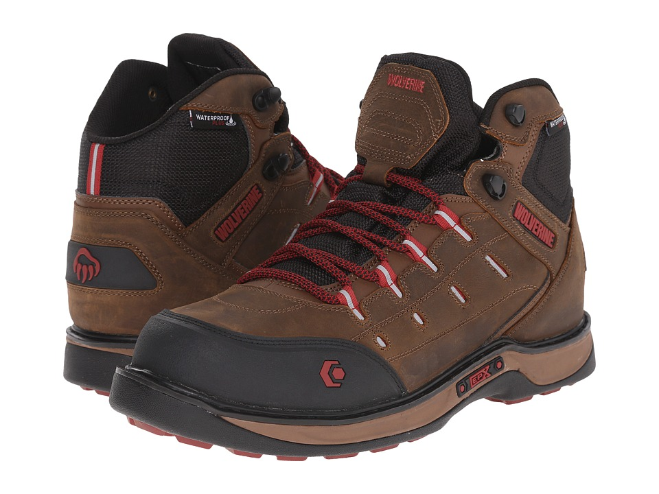 Wolverine - Edge LX EPXtm Waterproof Carbonmax (Brown/Red) Men's Work Lace-up Boots