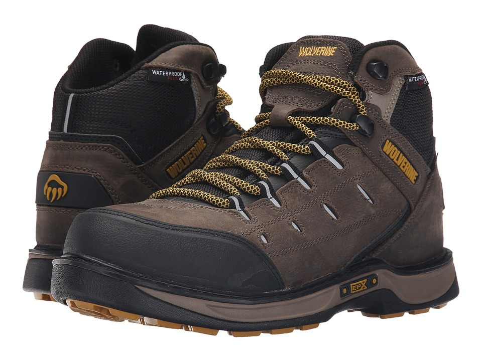 Wolverine - Edge LX EPX WPF (Taupe/Yellow) Men's Work Lace-up Boots