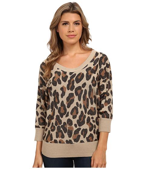 XOXO - Leopard Button Back Pullover (Tan) Women