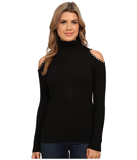 XOXO - Cold Shoulder Rib Turtleneck Pullover (Black) Women's Long Sleeve Pullover