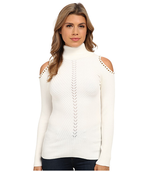 XOXO - Cold Shoulder Rib Turtleneck Pullover (Ivory) Women