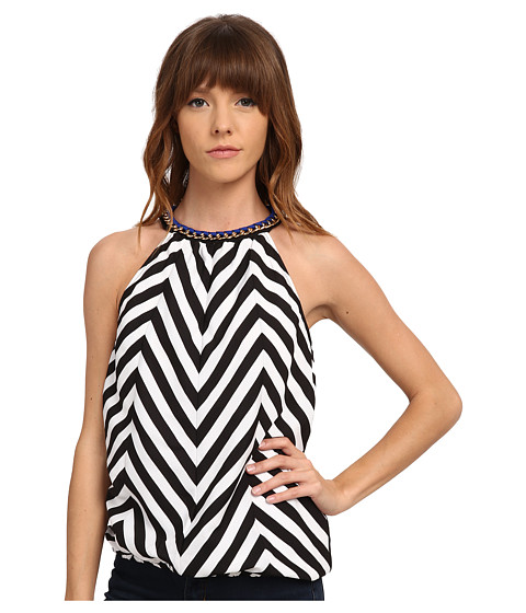 XOXO - Chain Neckline Chevron Tank Top (Cobalt) Women's Sleeveless