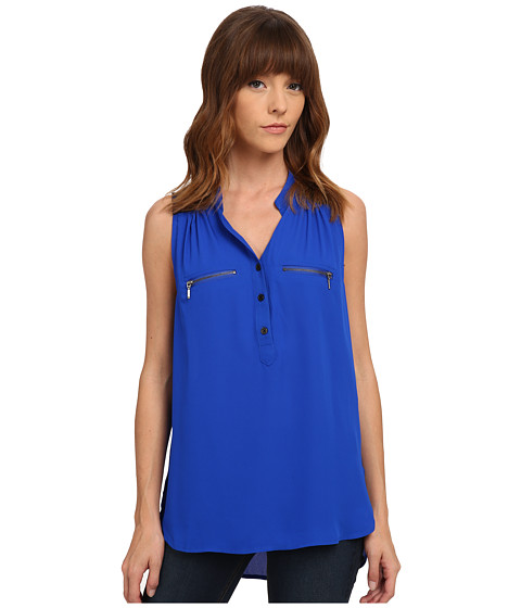 XOXO - Lace Yoke Sleeveless Top (Cobalt) Women's Sleeveless