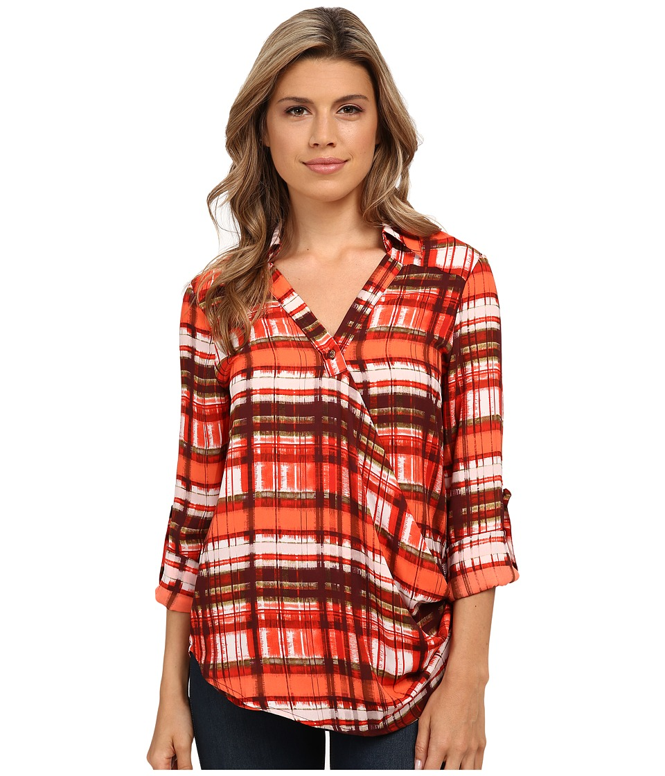 XOXO - Printed Wrap Front Top (Red) Women
