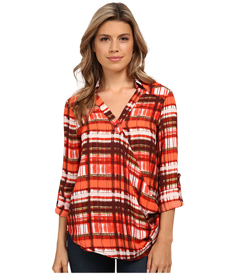 XOXO - Printed Wrap Front Top (Red) Women's Blouse