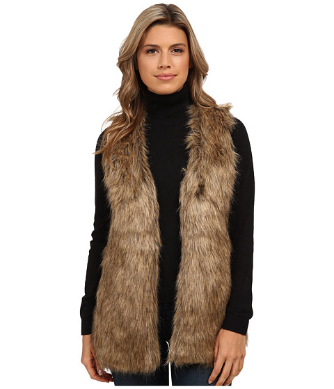 XOXO - Leopard Sweater Back Fur Vest (Natural) Women's Vest