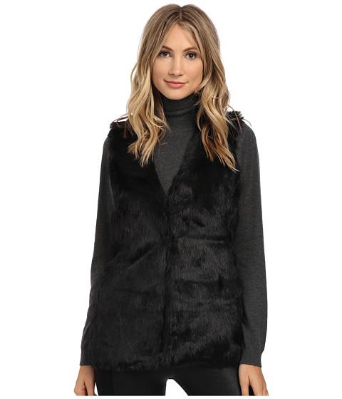 XOXO - Leopard Sweater Back Fur Vest (Black) Women's Vest