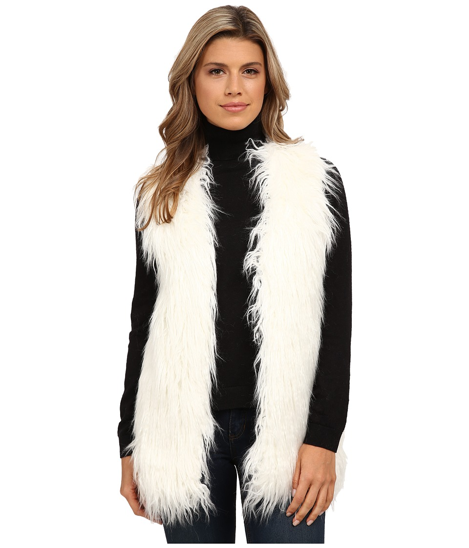 XOXO - Rib Sweater Back Fur Vest (Ivory) Women's Vest