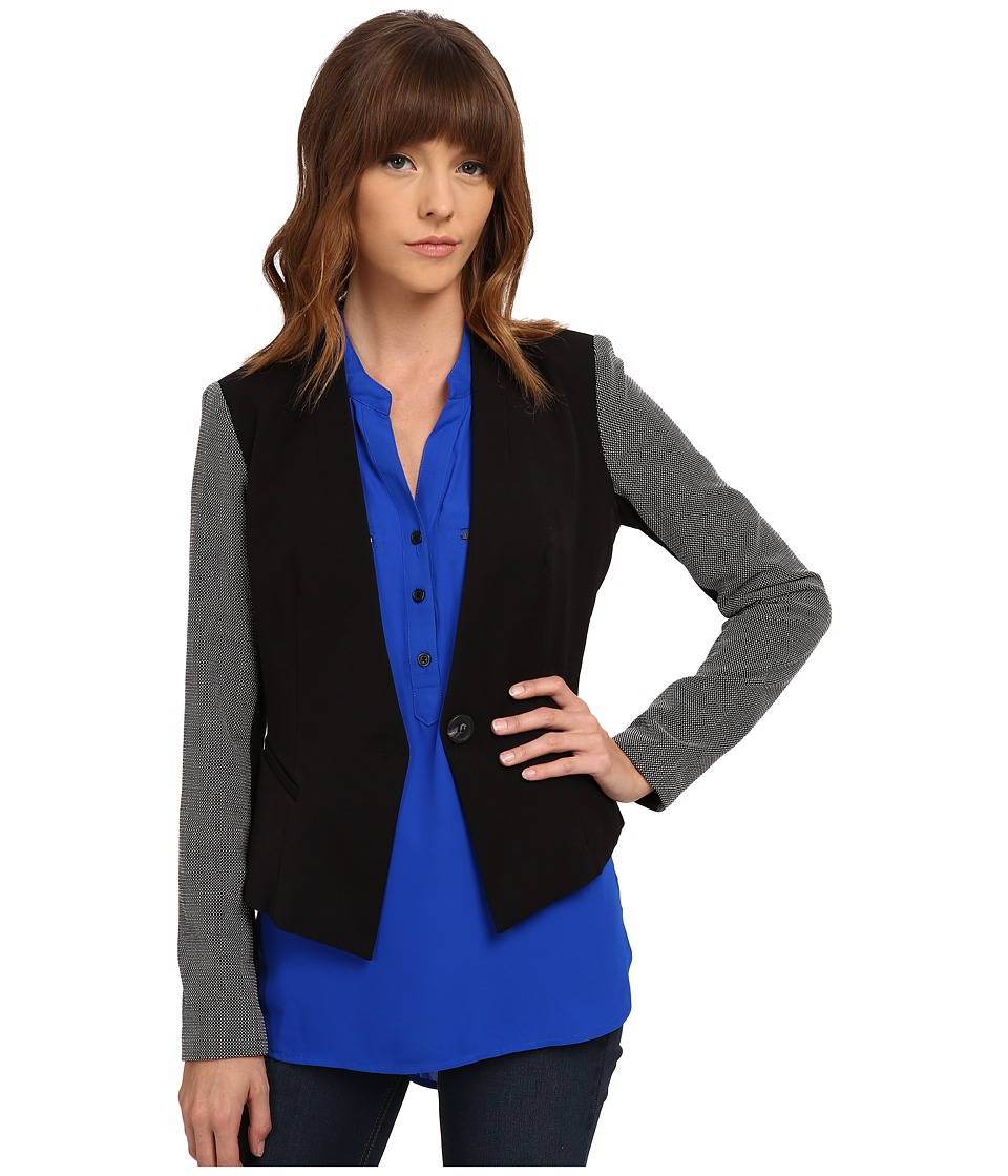 XOXO - Contrast Sleeve Blazer (Black) Women's Jacket