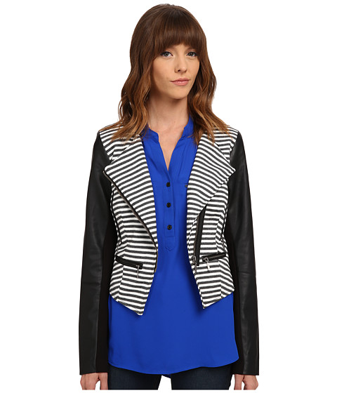 XOXO - Stripe Jacket w/ Leather Sleeves (Black/White) Women's Coat