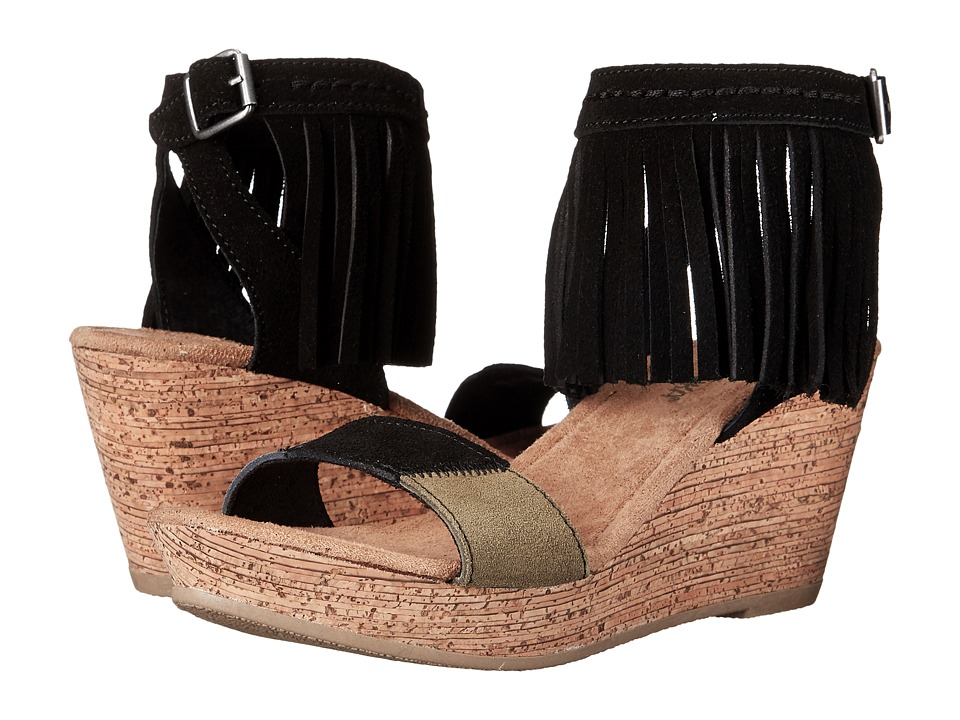 Minnetonka - Poppy (Black Suede/Color Block Patches) Women's Wedge Shoes