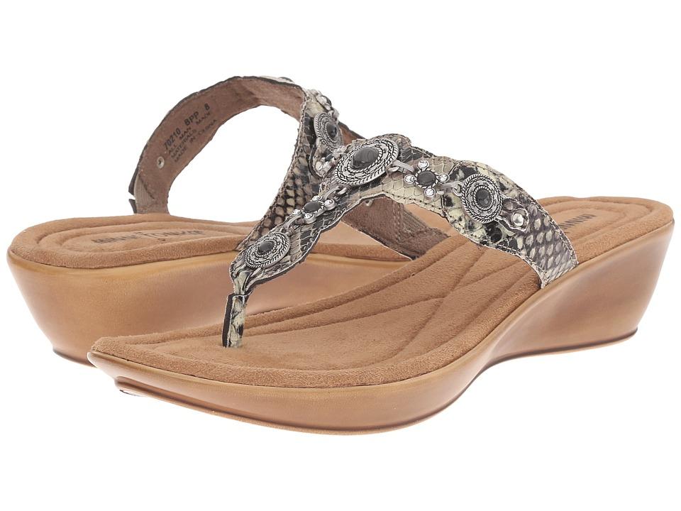 Minnetonka - Boca Thong II (Black Python Print Man-Made Upper) Women's Sandals