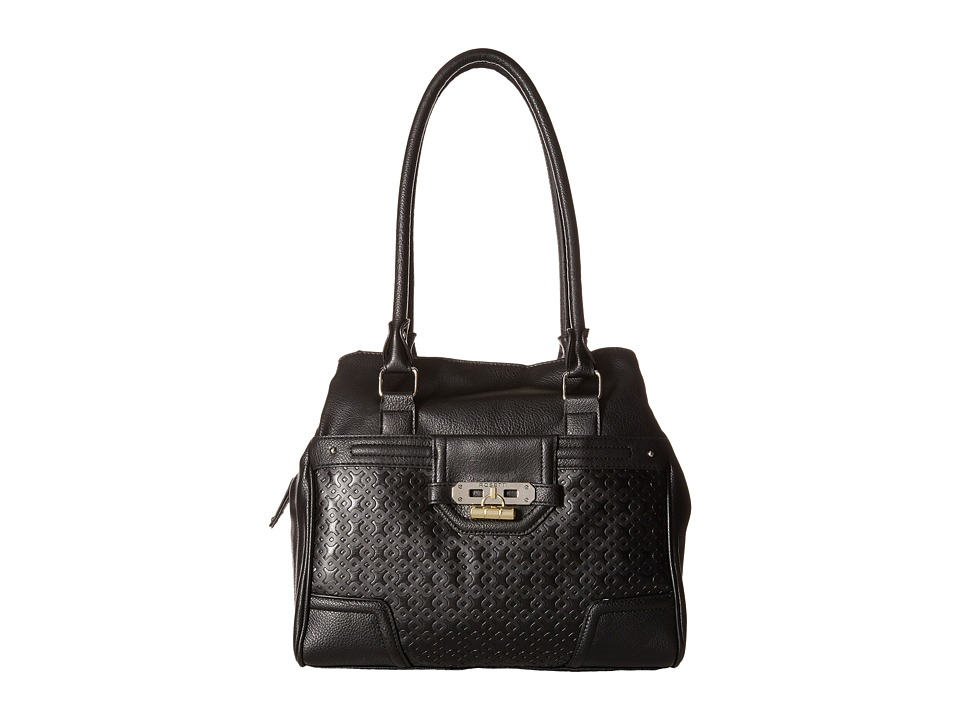 Rosetti - Show Time Embossed Double Handle Purse (Black) Satchel Handbags