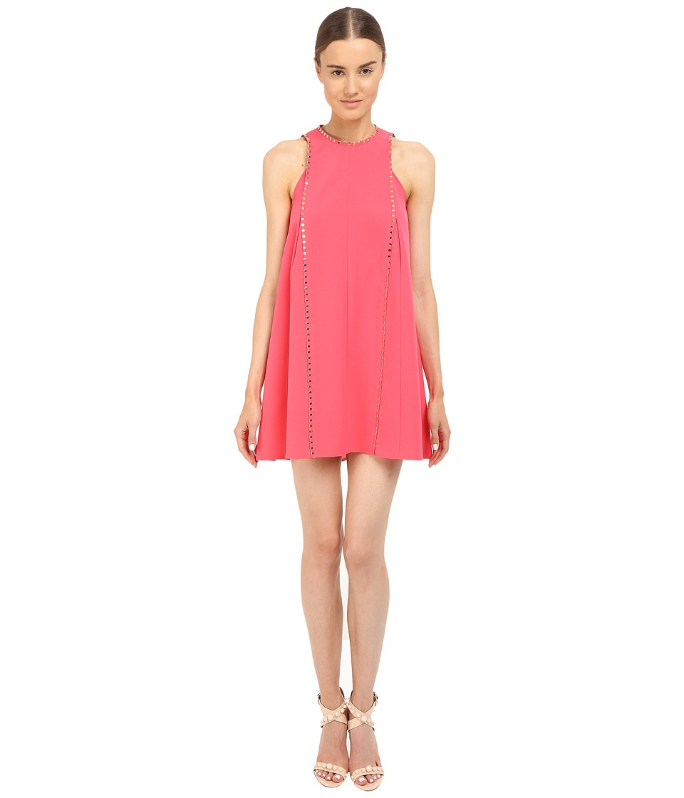 Versace Collection - Coral A-Line Dress with Hardware Detail (Pink) Women's Dress