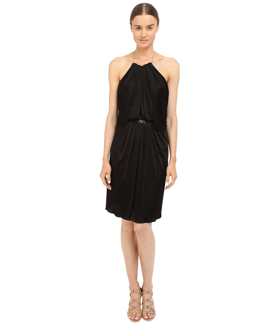 Versace Collection Satin Halter Dress w/ Chain Detail (Black) Women