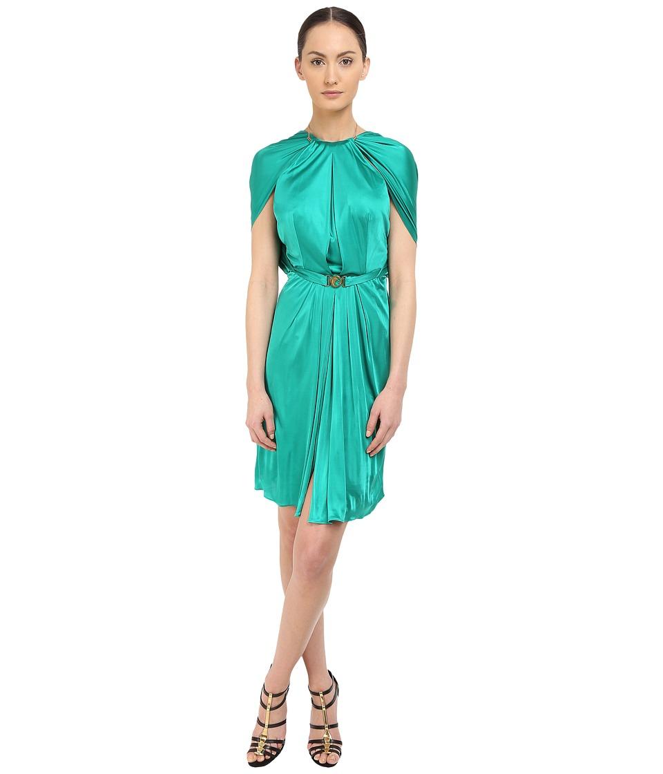 Versace Collection Emerald Satin Halter Dress w/ Chain Detail (Green) Women