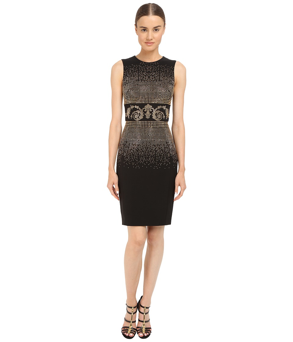 Versace Collection Black and Gold Embellished Tubino Dress (Black) Women
