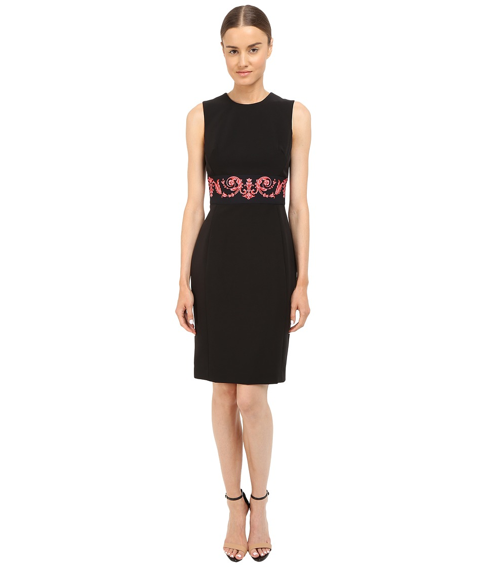 Versace Collection - Tubino Dress with Pink Wasted Print (Black) Women's Dress