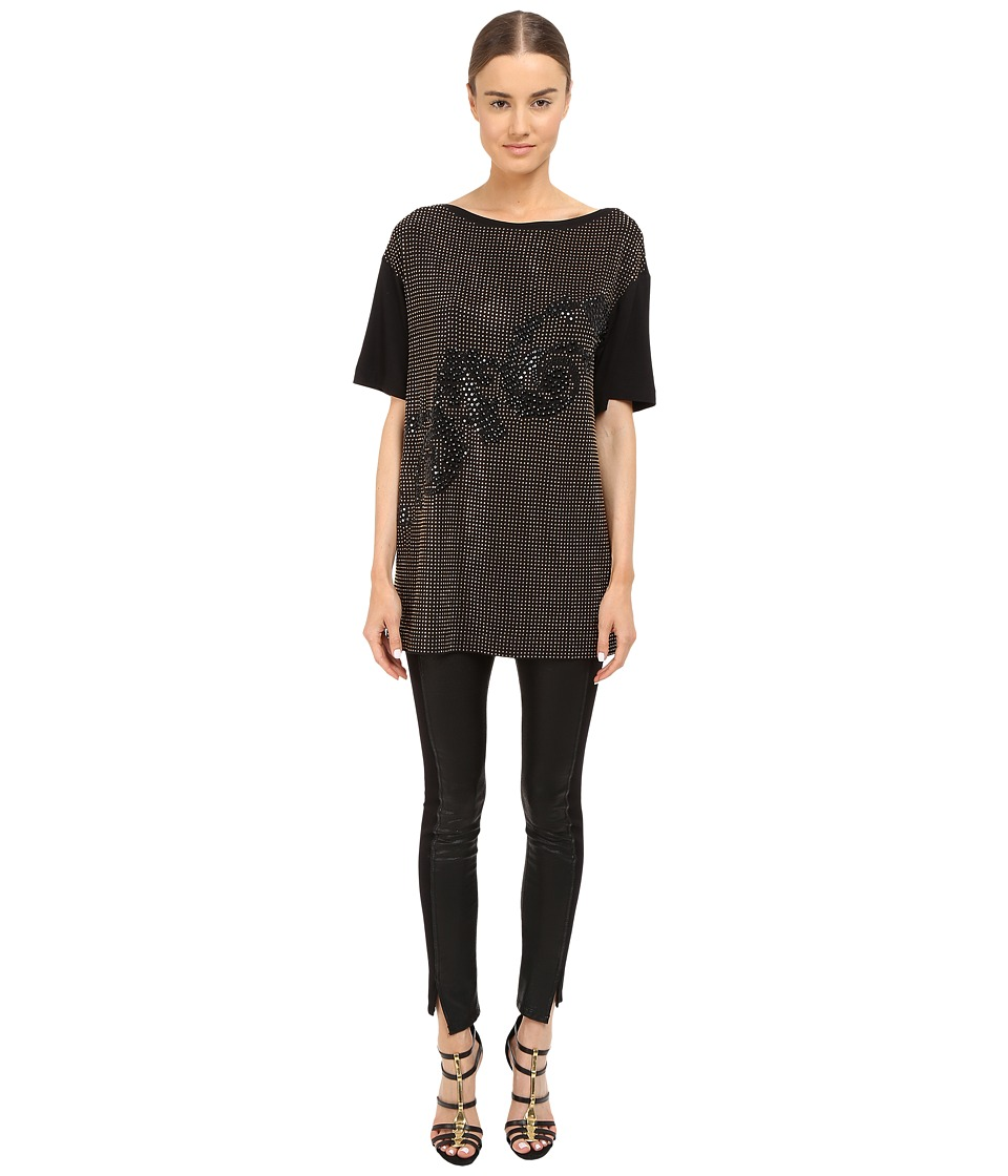 Versace Collection - Black and Gold Embellished Jersey Tunic (Black) Women's Blouse