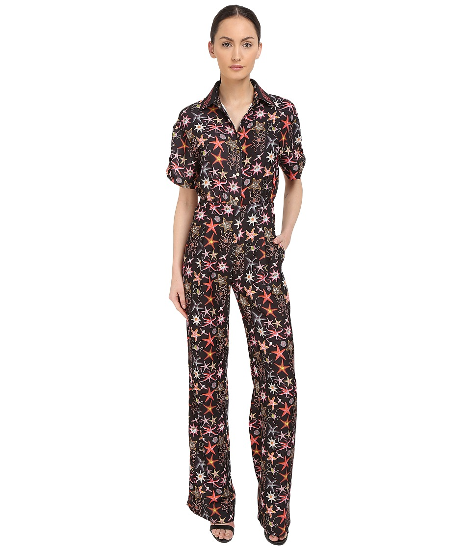 Versace Collection - Black Starfish Printed Jumpsuit (Multi) Women's Jumpsuit & Rompers One Piece