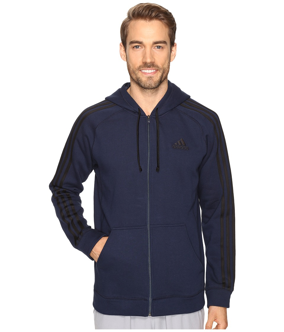 adidas - Essential Cotton Full Zip Hoodie (Collegiate Navy/Black) Men's Sweatshirt