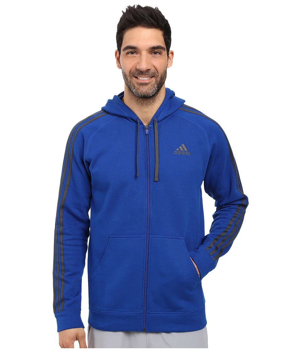 adidas - Essential Cotton Full Zip Hoodie (Collegiate Royal/Dark Grey Heather Solid Grey) Men's Sweatshirt