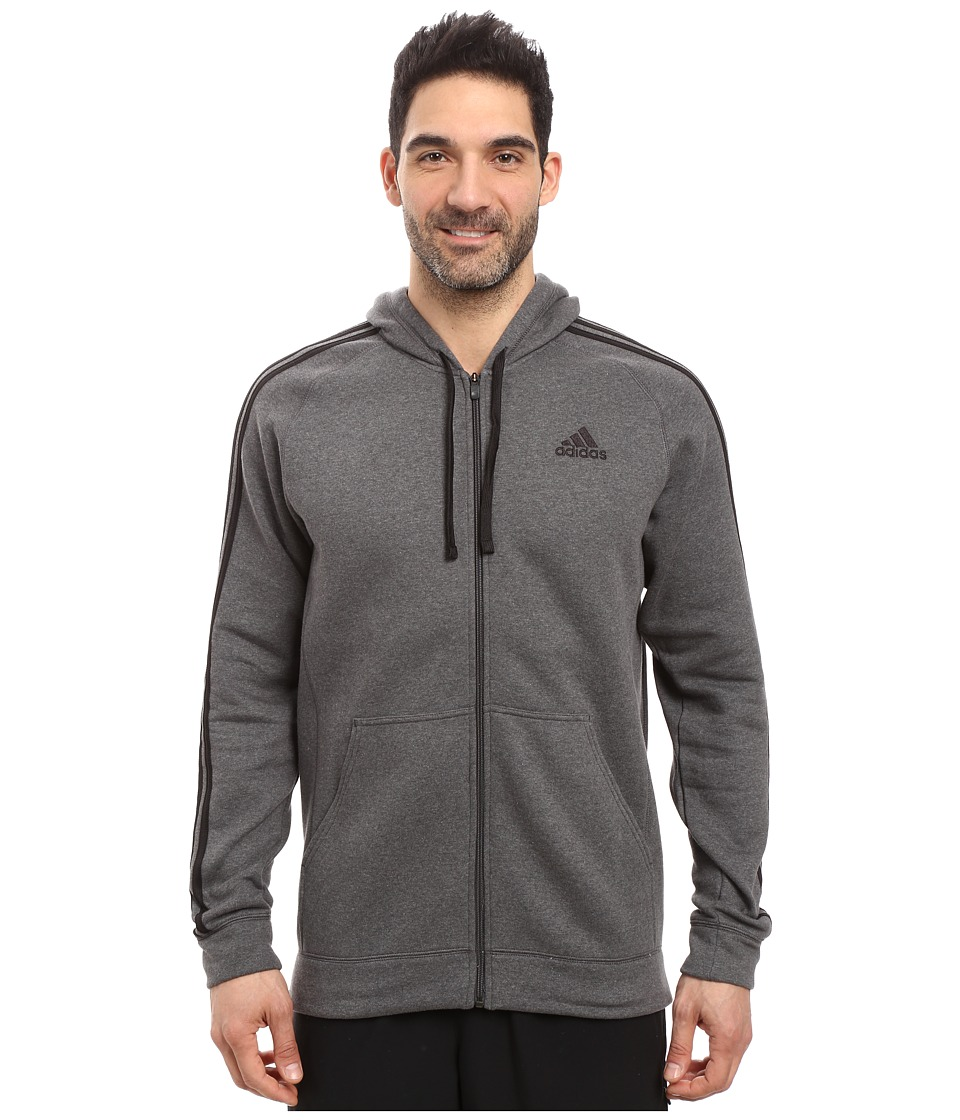 adidas - Essential Cotton Full Zip Hoodie (Dark Grey Heather/Black) Men's Sweatshirt