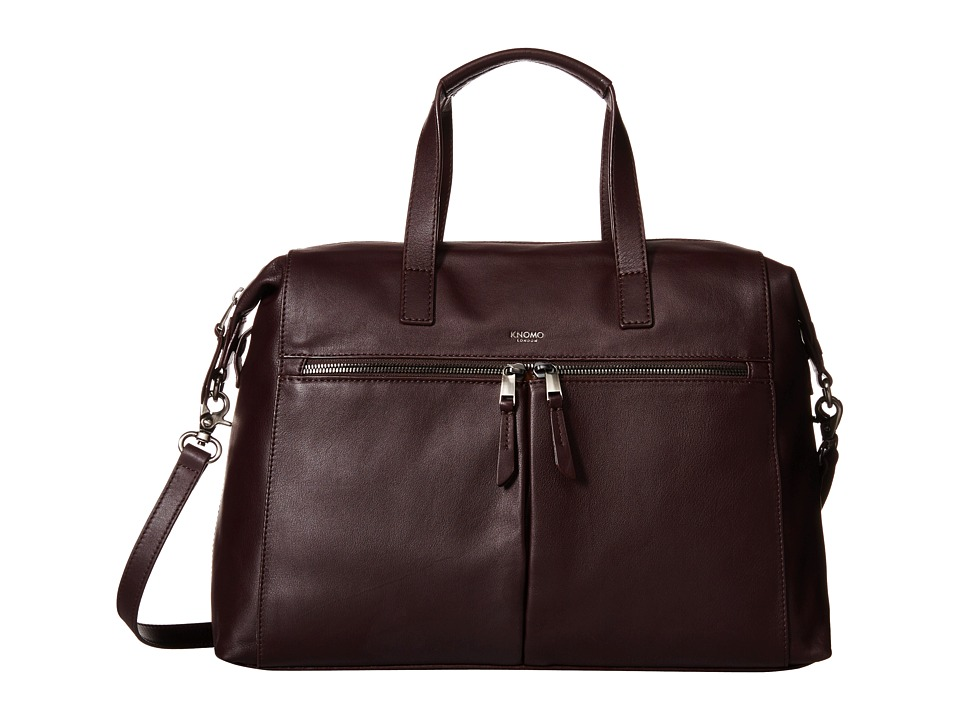 KNOMO London - Audley Leather Slim Laptop Tote (Espresso) Tote Handbags