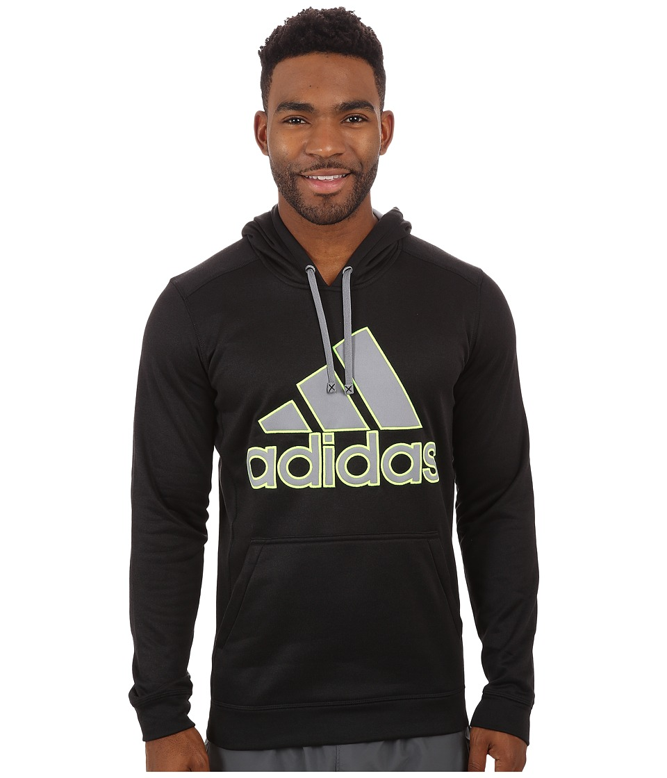 adidas - Go-To Performance Fleece Hoodie Appliqu (Black Overdye/Grey/Solar Yellow) Men's Sweatshirt