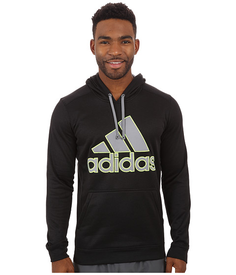 adidas - Go-To Performance Fleece Hoodie Appliqu (Black Overdye/Grey/Solar Yellow) Men