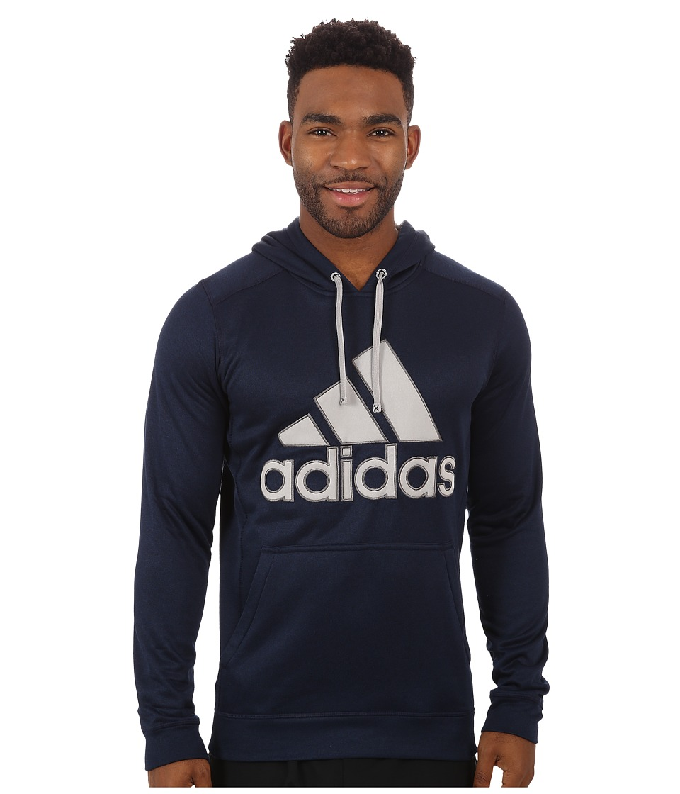 adidas - Go-To Performance Fleece Hoodie Appliqu (Collegiate Navy Overdye/Medium Grey Heather/Granite) Men