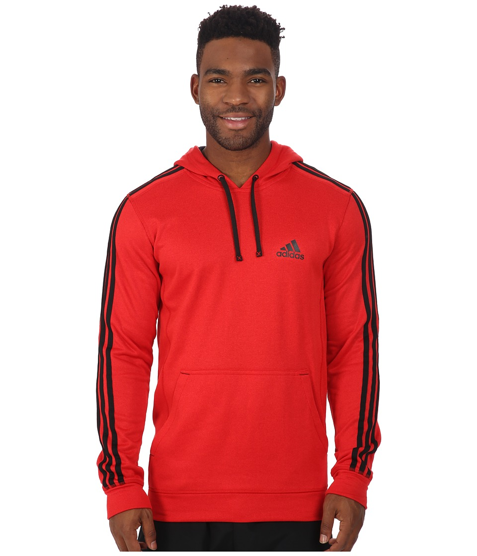 adidas - Go-To Performance 3S Fleece Hoodie (Scarlet Overdye/Black) Men's Sweatshirt