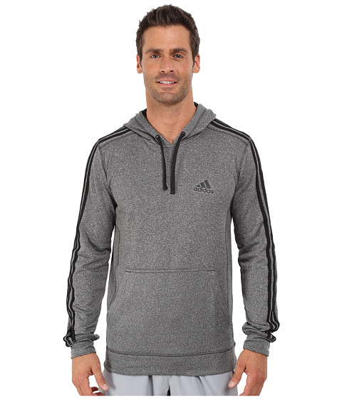 adidas - Go-To Performance 3S Fleece Hoodie (Dark Grey Heather Solid Grey/Black) Men