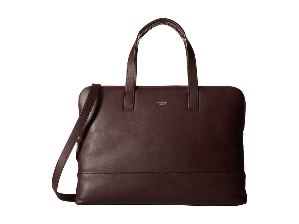 KNOMO London - Reeves Slim Laptop Briefcase (Espresso) Briefcase Bags