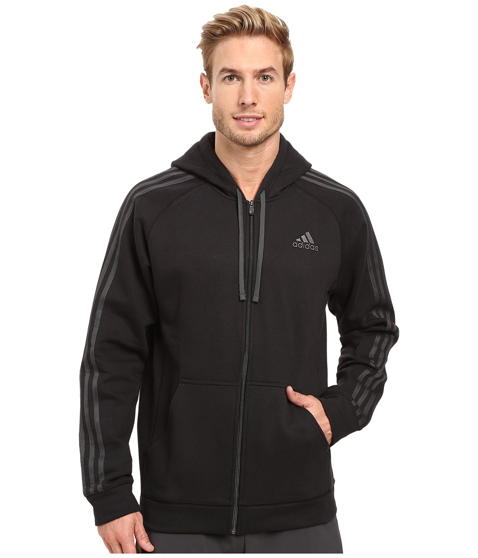 adidas - Essential Cotton Full Zip Hoodie (Black/Dark Grey Heather Solid Grey) Men's Sweatshirt
