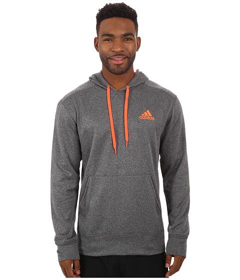 adidas - Go-To Fleece Pullover Hoodie (Dark Grey Heather Solid Grey/Solar Red) Men