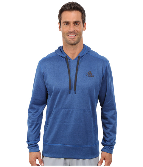 adidas - Go-To Fleece Pullover Hoodie (Blue Beauty/Night Grey) Men's Sweatshirt