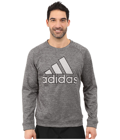 adidas - Team Issue Fleece Appliqu Logo Crew (Dark Grey Heather Solid Grey/Medium Grey Heather) Men
