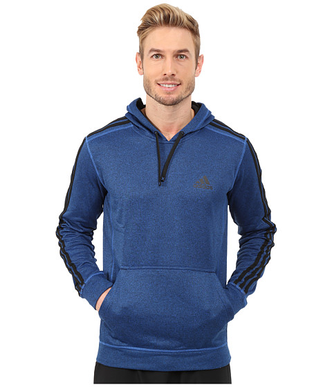 adidas - Go-To Performance 3S Fleece Hoodie (Blue Overdye/Black) Men
