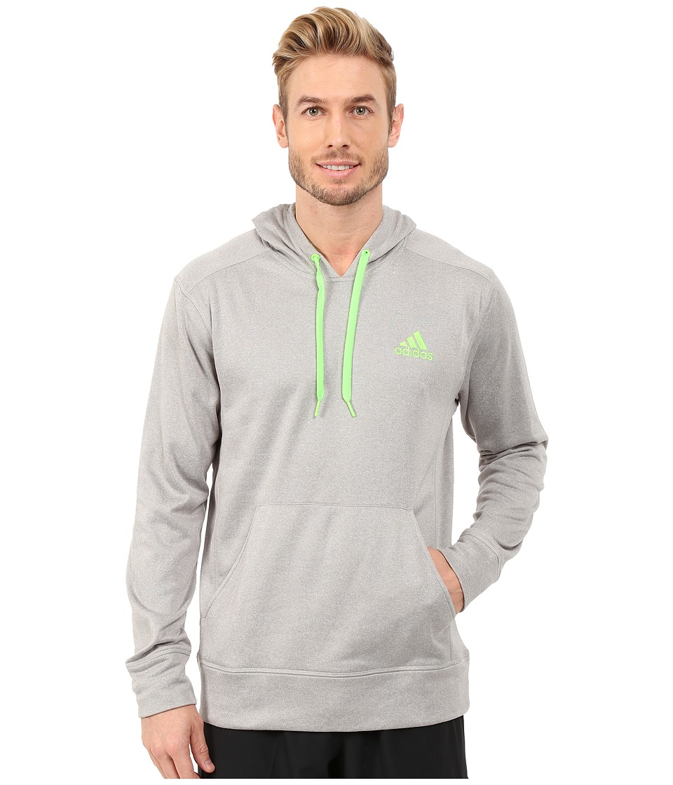 adidas - Go-To Fleece Pullover Hoodie (Medium Grey Heather Solid Grey/Solar Green) Men's Sweatshirt