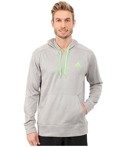 adidas - Go-To Fleece Pullover Hoodie (Medium Grey Heather Solid Grey/Solar Green) Men