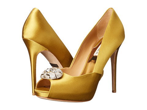 Badgley Mischka - Pearla (Antique Gold Satin) High Heels
