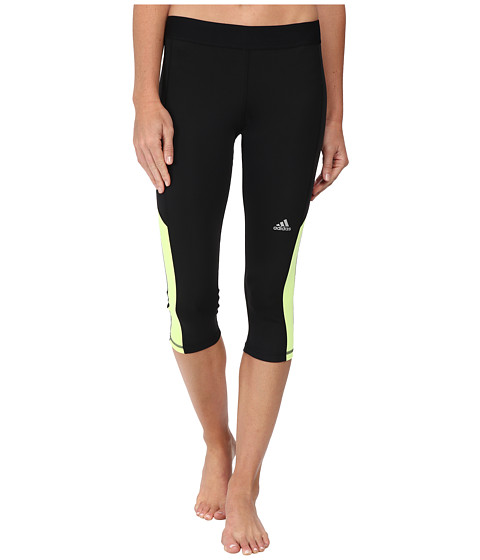adidas - Techfit Capri Tights (Black/Solar Yellow/Matte Silver) Women's Capri