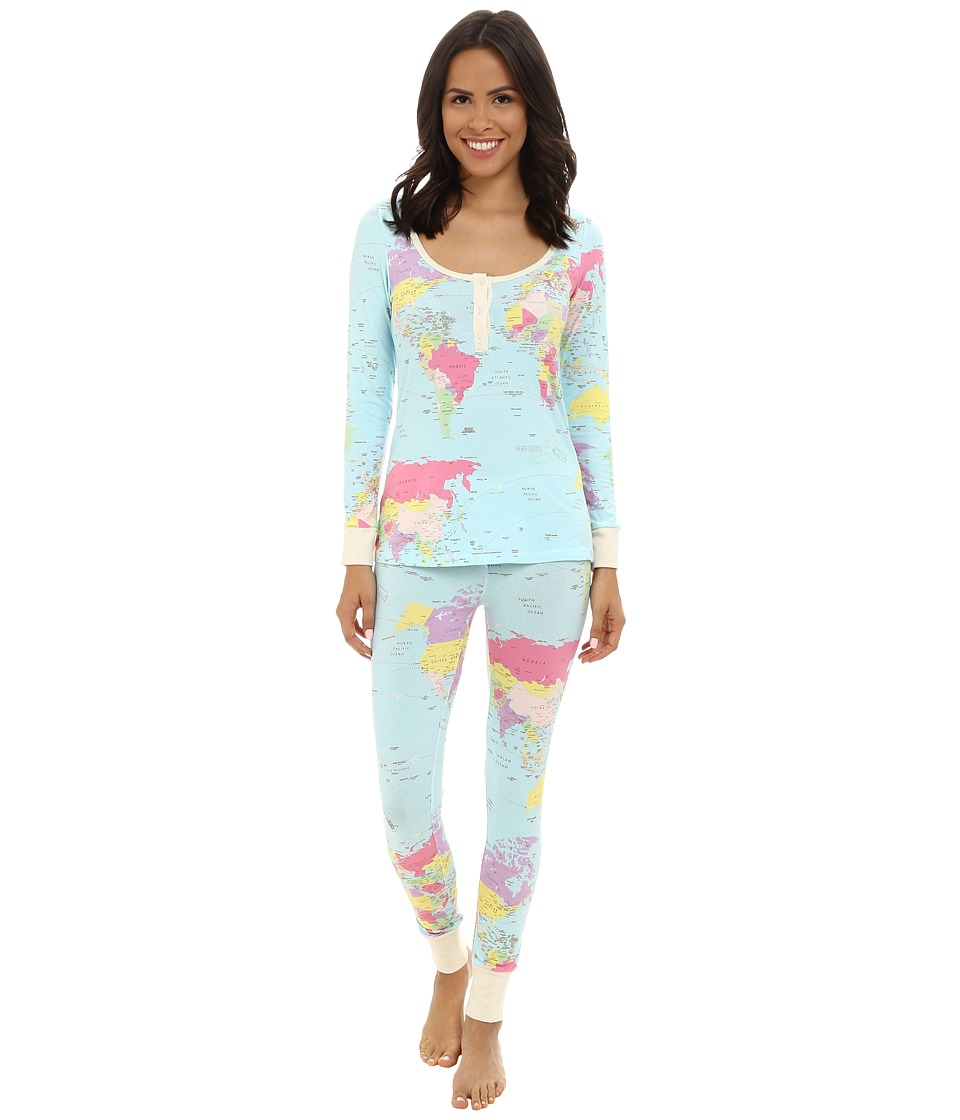 BedHead - Henley PJ (Aqua Around World) Women's Pajama Sets