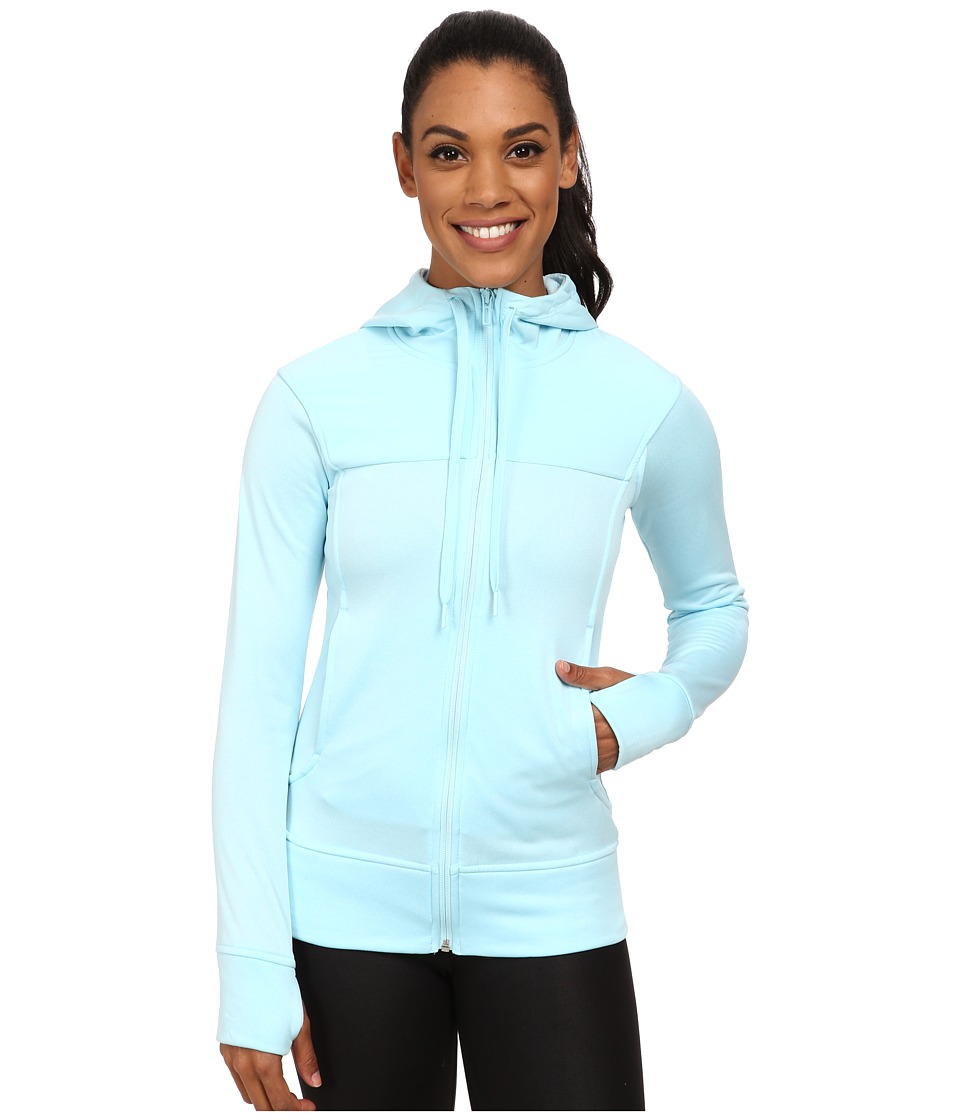 adidas - Go-To Fleece Full Zip Hoodie (Frozen Blue Heather/Frozen Blue) Women's Sweatshirt