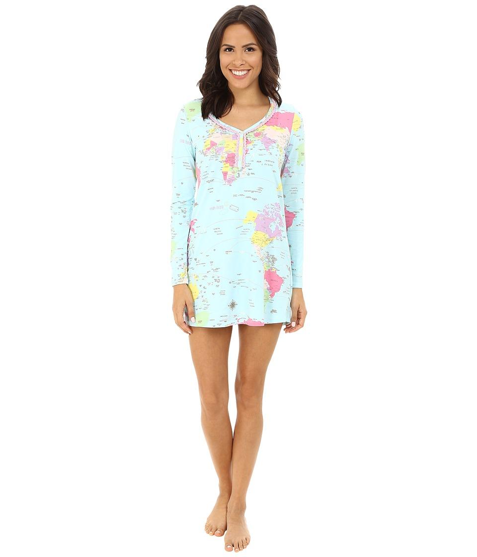 BedHead - Long Sleeve Sweet Heart Henley Nightshirt (Aqua Around World) Women's Pajama