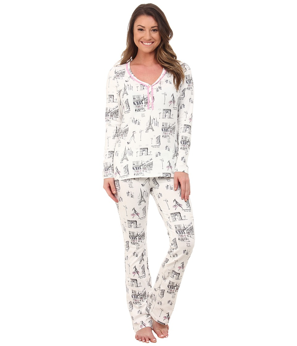 BedHead - Long Sleeve Sweet Heart Tee w/ Yoga Pants Set (Cafe Du Paris) Women's Pajama Sets