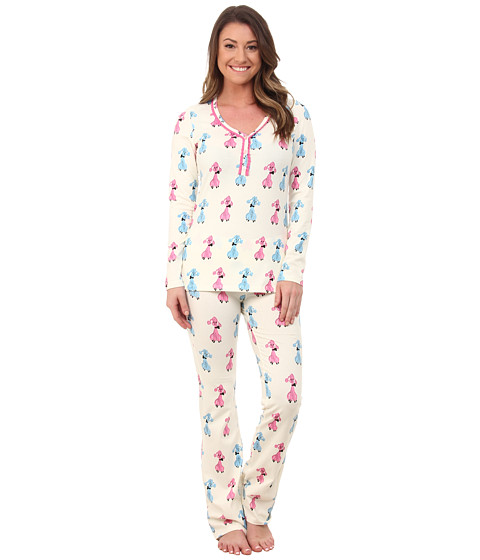BedHead - Long Sleeve Sweet Heart Tee w/ Yoga Pants Set (Poodles) Women's Pajama Sets