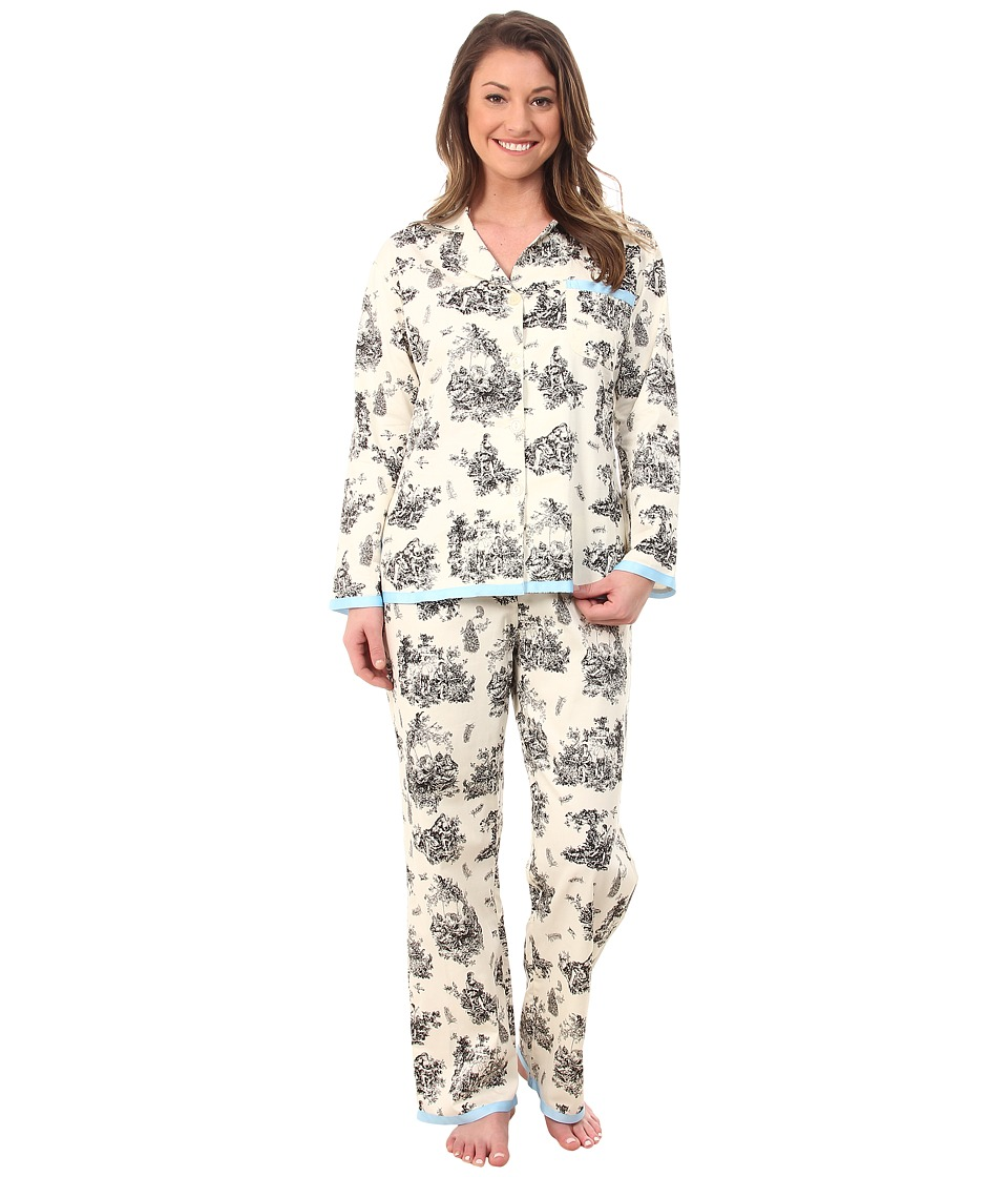 BedHead - Cotton Sateen L/S Ribbon PJ (Black Vintage Toile) Women's Pajama Sets plus size,  plus size fashion plus size appare